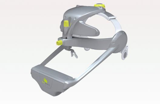 Der EyeBrain T2, ein medizinisches Gerät, das Augen- und Kopfbewegungen misst. Es
